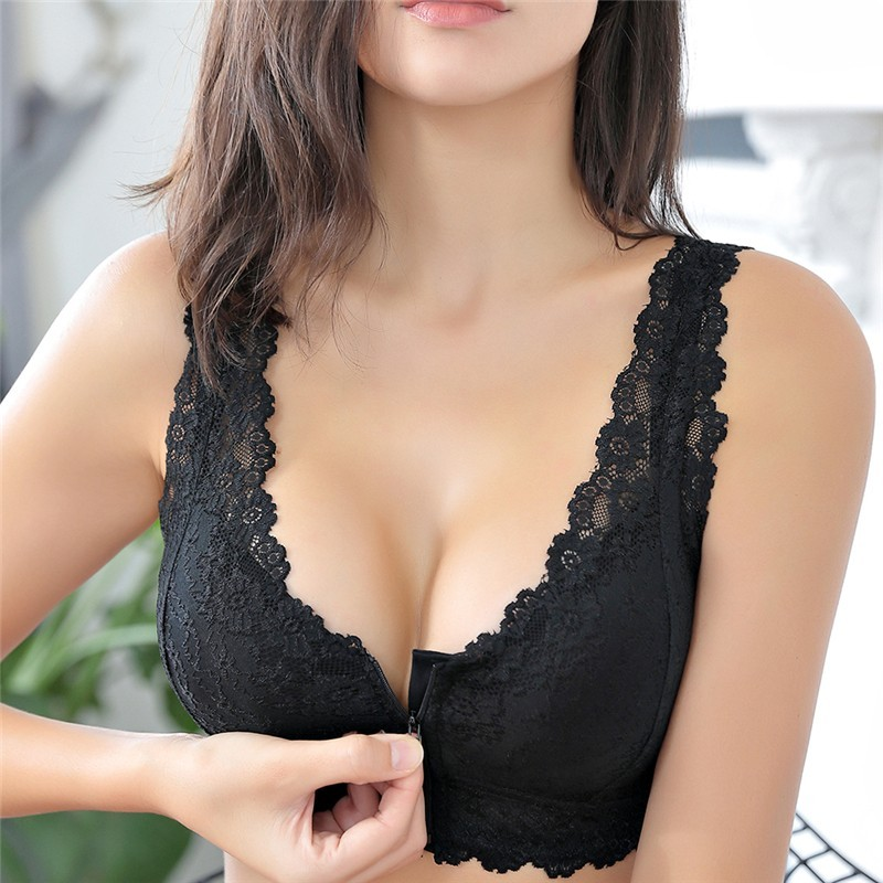 Push up bra with front zipper - seamless