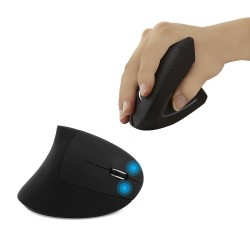Ergonomic vertical wireless mouse - USB - optical - 1600 DPI 6D with Led light & pad
