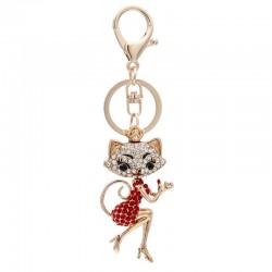 Crystal lipstick & lady cat - keyring