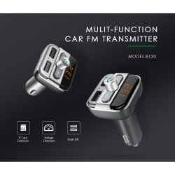 BT20 Bluetooth FM transmitter - car radio adapter - 2 USB - MP3 player - handsfree calling