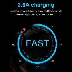Universal 3.6A dual USB car charger with LED display