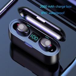Auriculares inalámbricos Bluetooth V5.0 F9 TWS - Pantalla LED - Banco de energía de 2000 mAh - Auriculares con micrófono