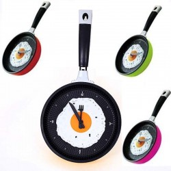 Frying pan with egg - wall clock