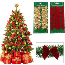 Gold & silver ribbons - Christmas tree bowknots 12 pieces