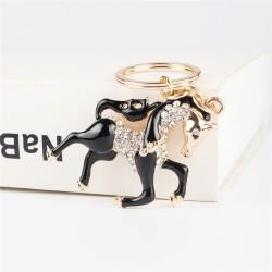 Black crystal horse - keychain