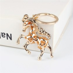 Black horse with crystal - keychain