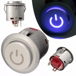 12V 22mm LED momentary push button switch - waterproof - car engine start - metal