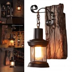 Vintage - wooden wall lamp - LED light
