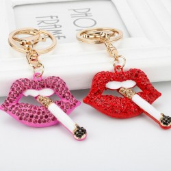 Crystal lips with a cigarette - keyring