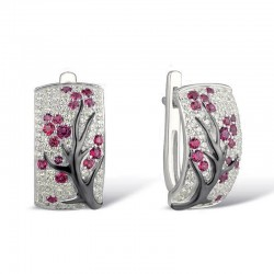 Rose flowers - luxury earrings with cubic zirconia