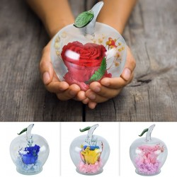 Artificial immortal rose in apple-shaped glass