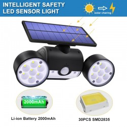 30 LED - dual head solar lamp - spotlight - PIR motion sensor - adjustable angle light - waterproof