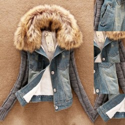Fashionable denim & fleece short jacket with detachable fur collar