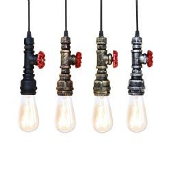 Industrielle Eisenwasserleitung - Vintage Lampe mit Kabel - E27 LED