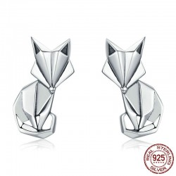 Geometric fox - fashion silver earrings